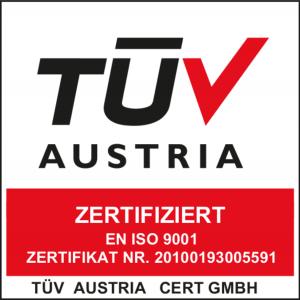 TÜV Austria EN ISO 9001 zertifiziert